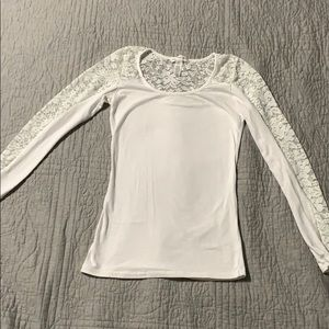 White Long Sleeved Lace Top